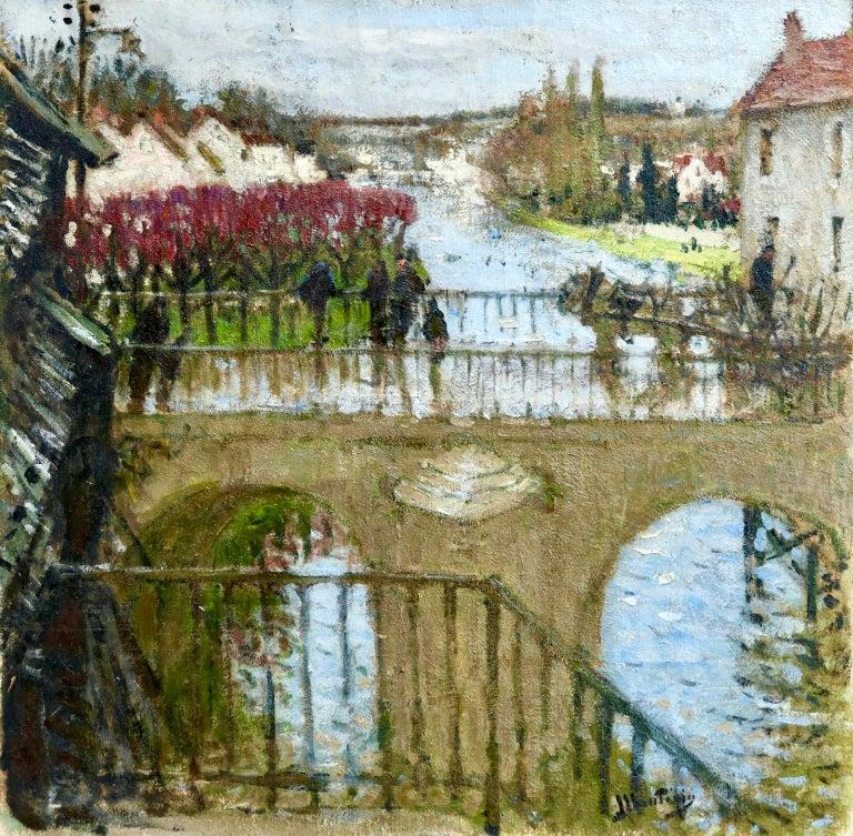 Pierre Eugene Montezin Landscape Painting - Provencher's Mill - Moret-Sur-Loing - Impressionist Oil, River - Pierre Montezin