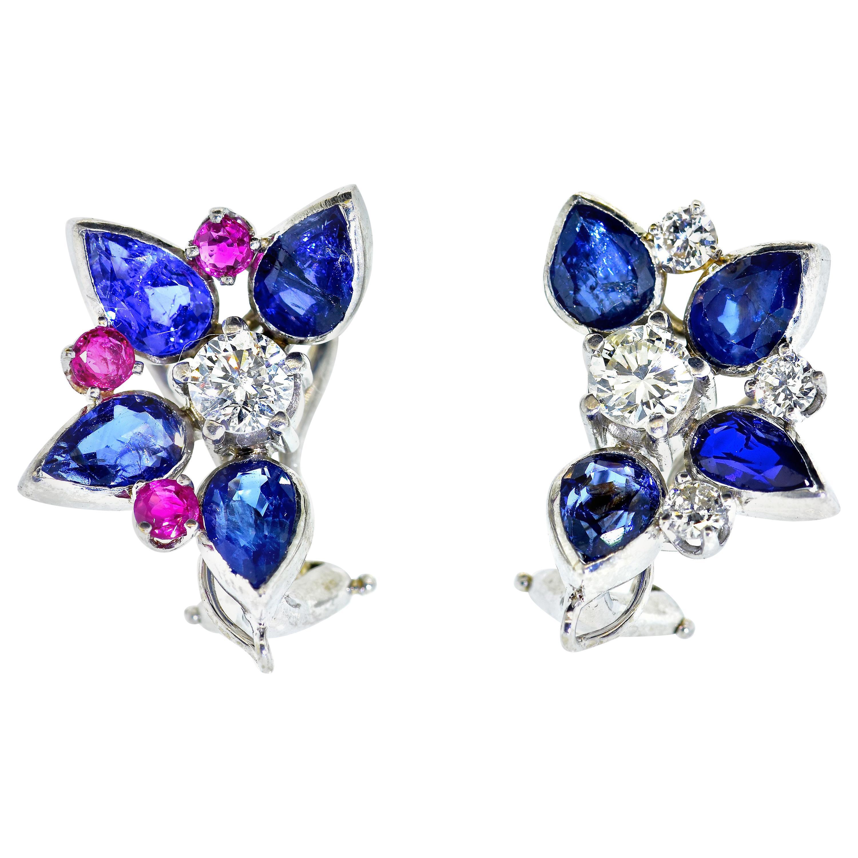 Diamond, Sapphire and Ruby Flower motif Earrings