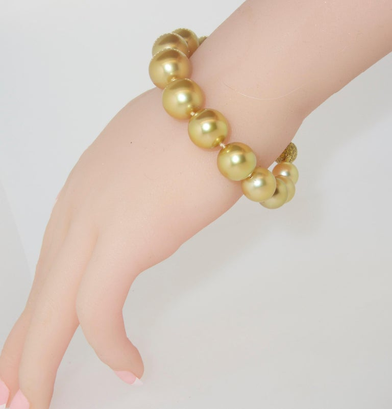 Pierre/Famille Golden South Sea Pearl Bracelet and Fancy Intense Diamond Clasp For Sale 2