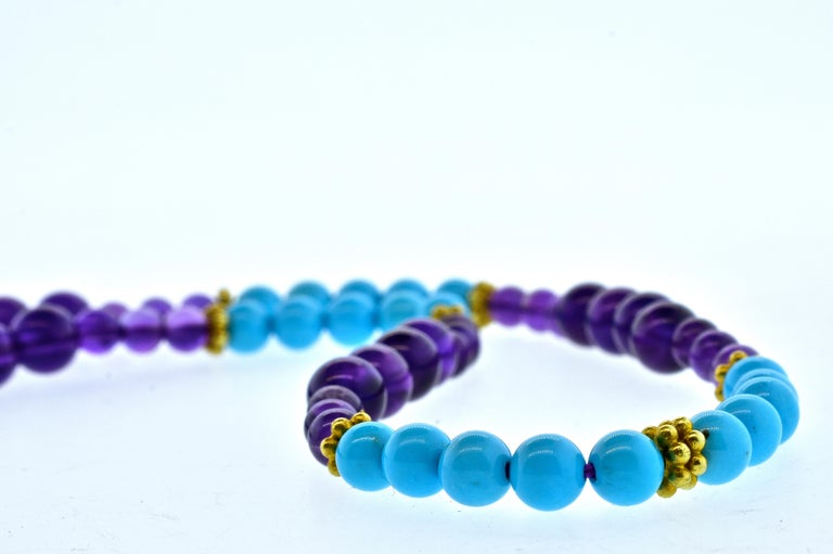 Contemporary Turquoise, Amethyst, and Gold Long Necklace For Sale
