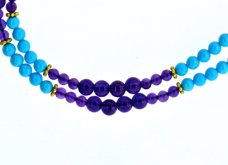 Turquoise, Amethyst, and Gold Long Necklace In New Condition For Sale In Aspen, CO