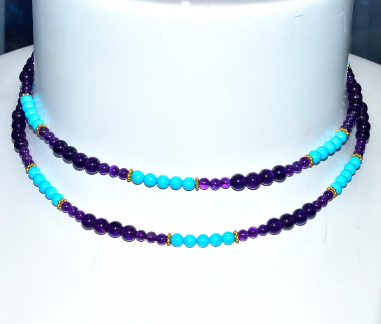 Women's or Men's Turquoise, Amethyst, and Gold Long Necklace For Sale