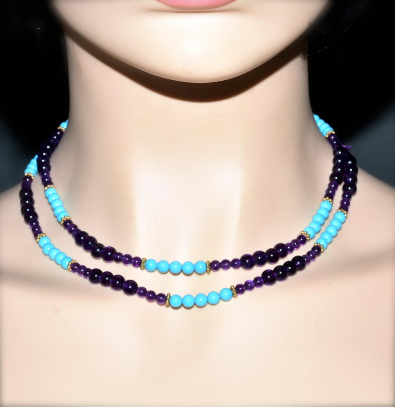 Turquoise, Amethyst, and Gold Long Necklace For Sale 1