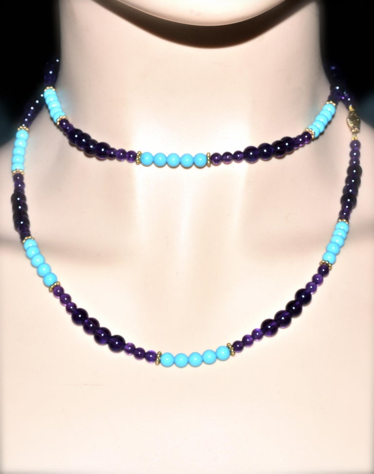 Turquoise, Amethyst, and Gold Long Necklace For Sale 2