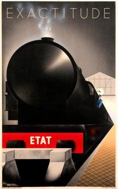 """Exactitude - Etat"" Original Vintage Railway Art Deco Poster"