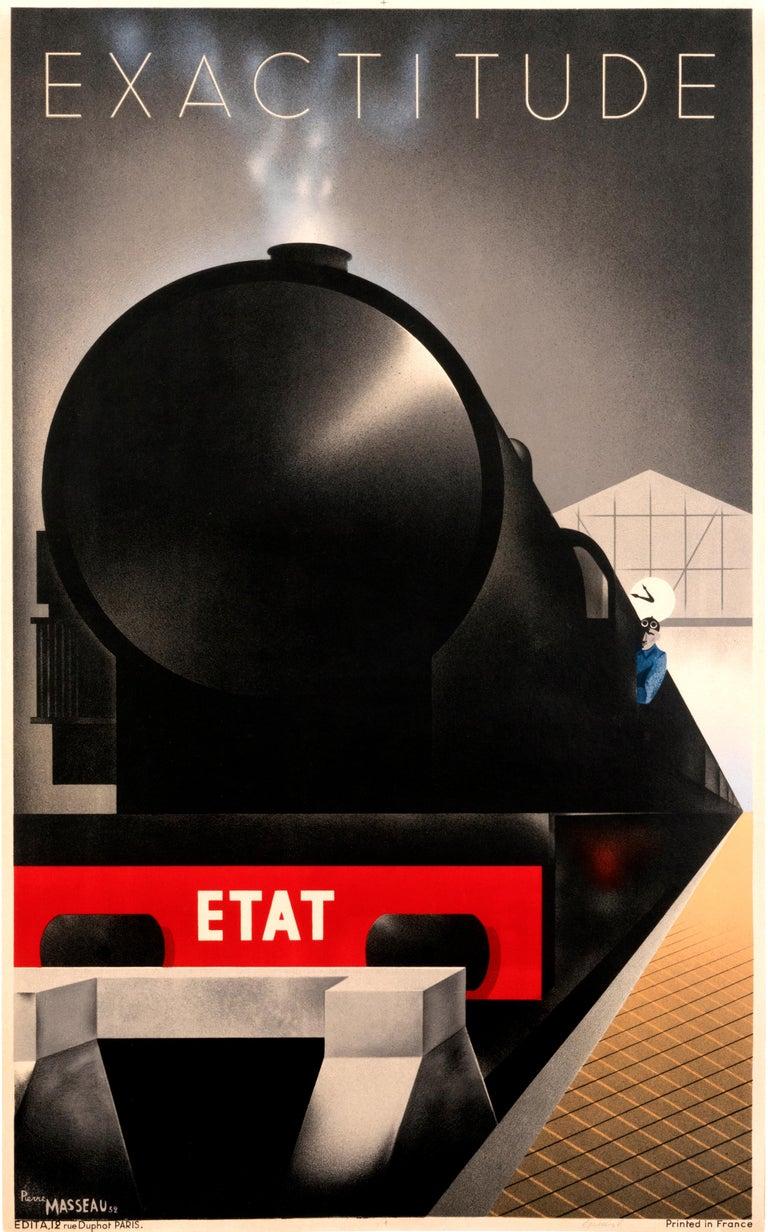 """Exactitude - Etat"" Original Vintage Railway Art Deco Poster  - Print by Pierre Fix-Masseau"