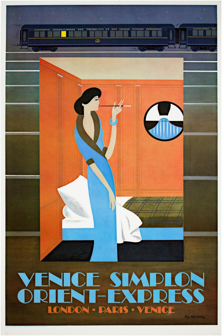 """""""Orient Express"""" is a lithograph poster by Pierre Fix-Masseau. The artist signed his name in the lower right of the image. This piece depicts a fashionable woman smoking in one of the rooms of the Venice Simplon Orient Express, a train line.   38"""