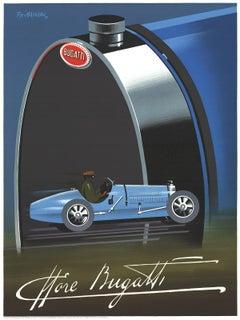 """Pierre Fix-Masseau-Bugatti-31.5"""" x 23.5""""-Lithograph-1989-Art Deco-Blue, Green"""