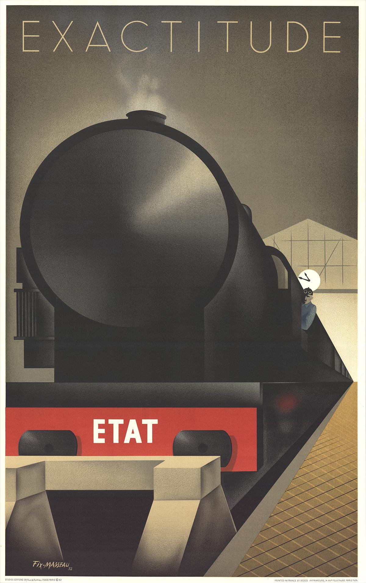 """Pierre Fix-Masseau-Exactitude-40"""" x 25""""-Lithograph-1982-Vintage-Black, Brown"""
