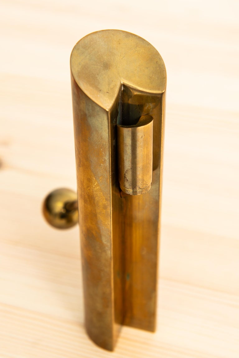 Pair of candlesticks in brass model Variable designed by Pierre Forsell. Produced by Skultuna in Sweden.
