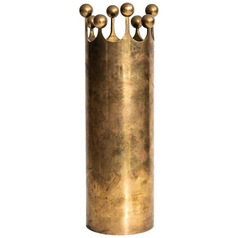 Pierre Forsell vase in brass by Skultuna in Sweden For Sale