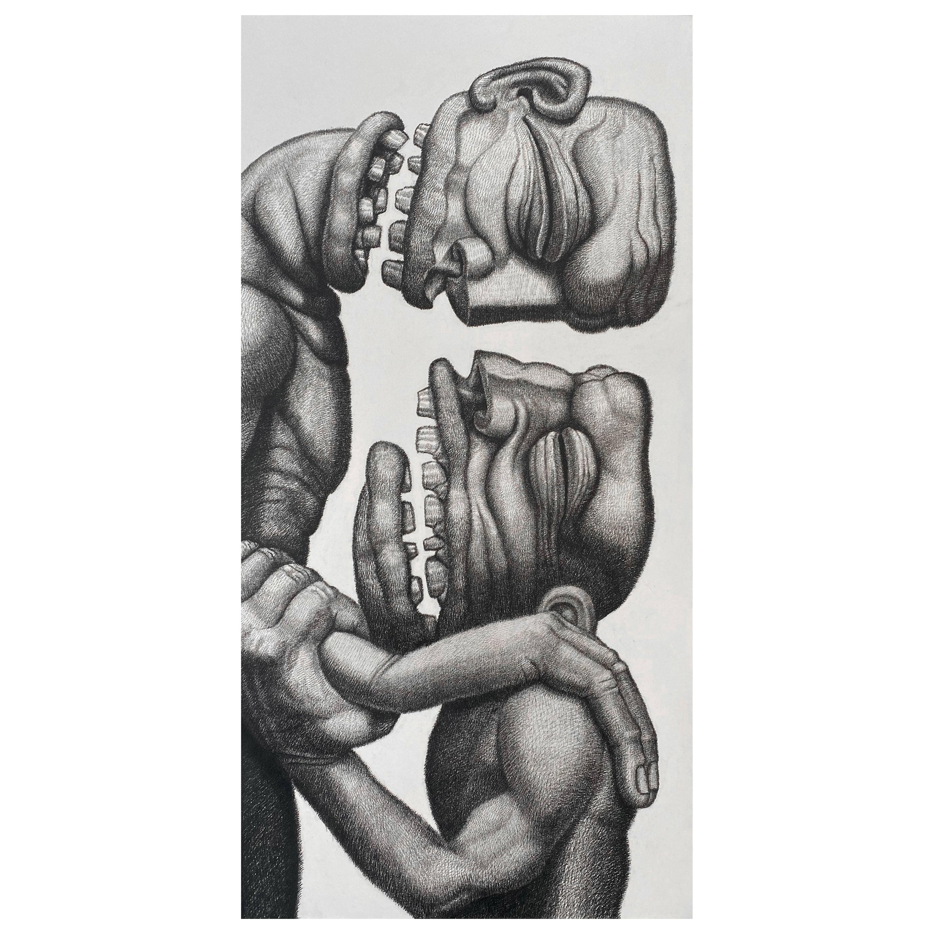 Pierre Fortin Modern Figurative Abstract Charcoal Painting Titled Brothers