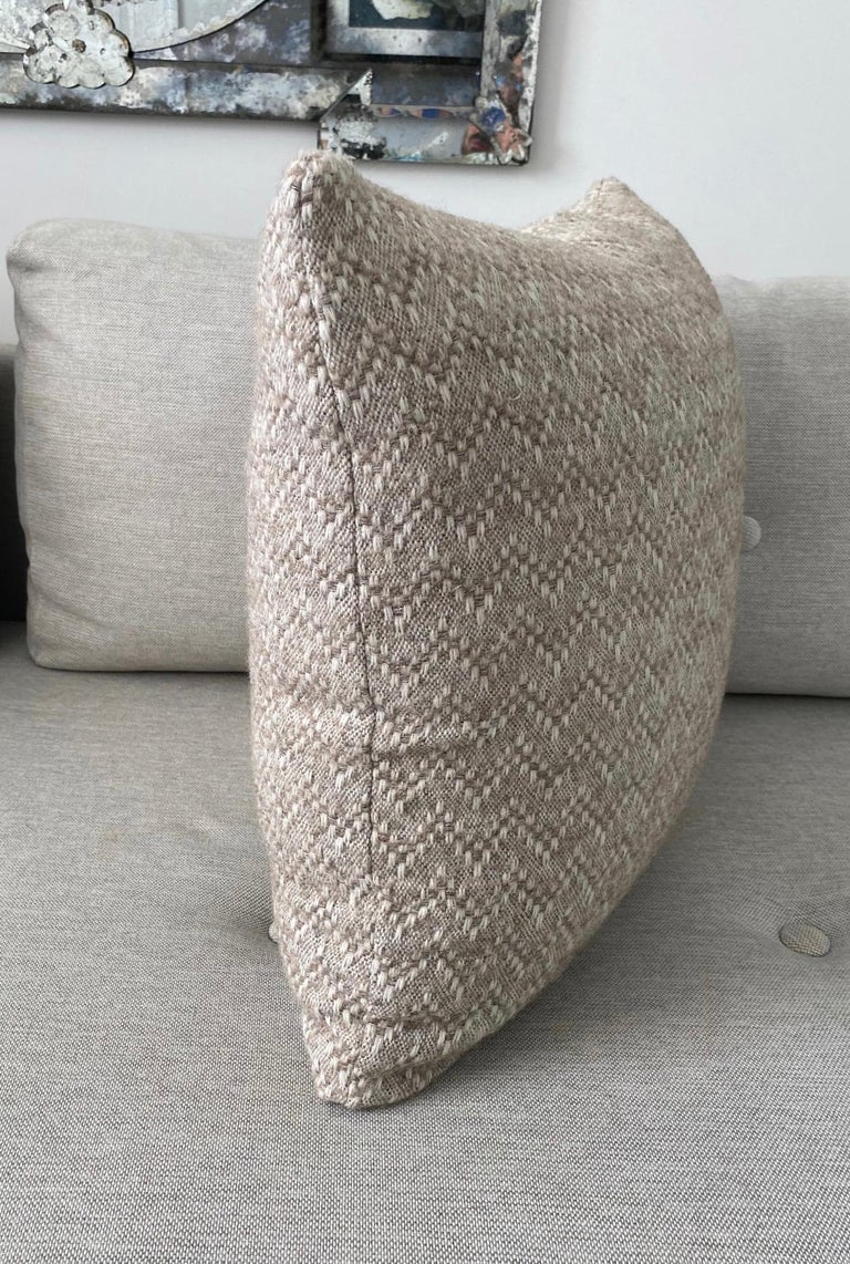 Pierre Frey Organic Wool, Alpaca, and Mohair Chevron Luxe Pillow in Taupe For Sale 4