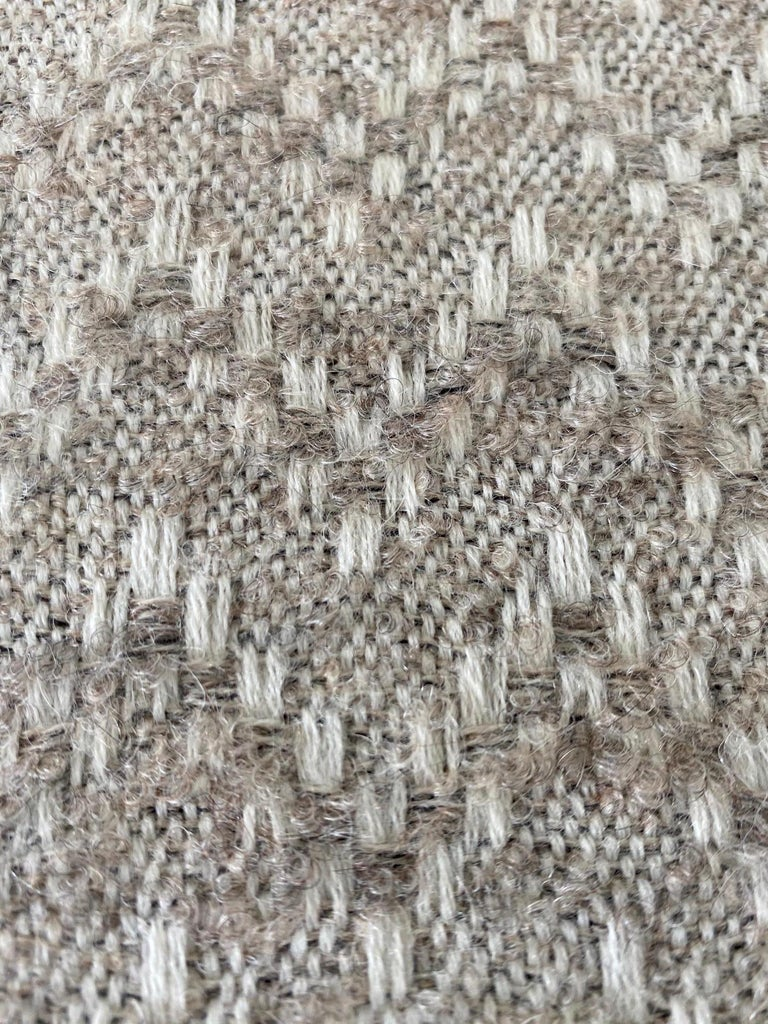 Pierre Frey Organic Wool, Alpaca, and Mohair Chevron Luxe Pillow in Taupe For Sale 5