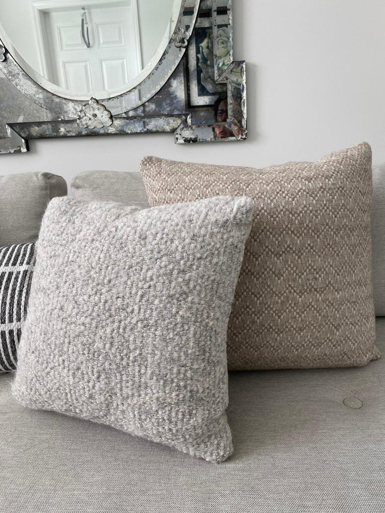 Pierre Frey Organic Wool, Alpaca, and Mohair Chevron Luxe Pillow in Taupe For Sale 6