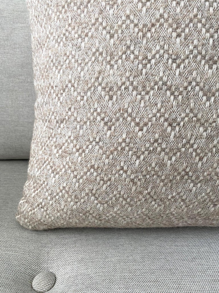 Organic Modern Pierre Frey Organic Wool, Alpaca, and Mohair Chevron Luxe Pillow in Taupe For Sale
