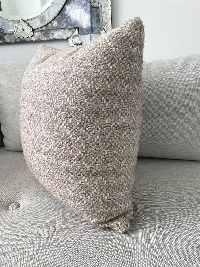 French Pierre Frey Organic Wool, Alpaca, and Mohair Chevron Luxe Pillow in Taupe For Sale