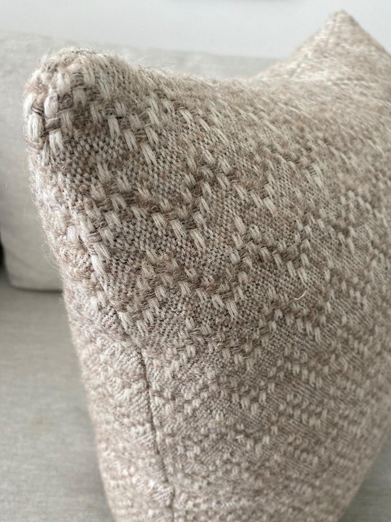 Hand-Woven Pierre Frey Organic Wool, Alpaca, and Mohair Chevron Luxe Pillow in Taupe For Sale