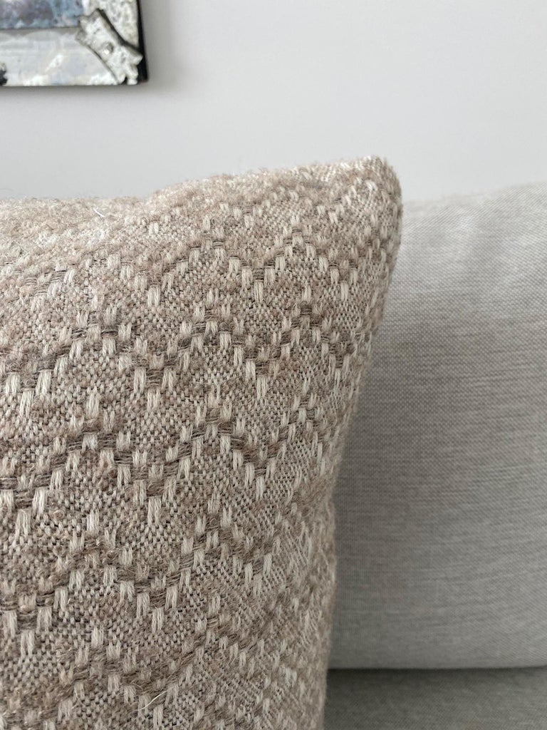 Pierre Frey Organic Wool, Alpaca, and Mohair Chevron Luxe Pillow in Taupe In New Condition For Sale In Fort Lauderdale, FL