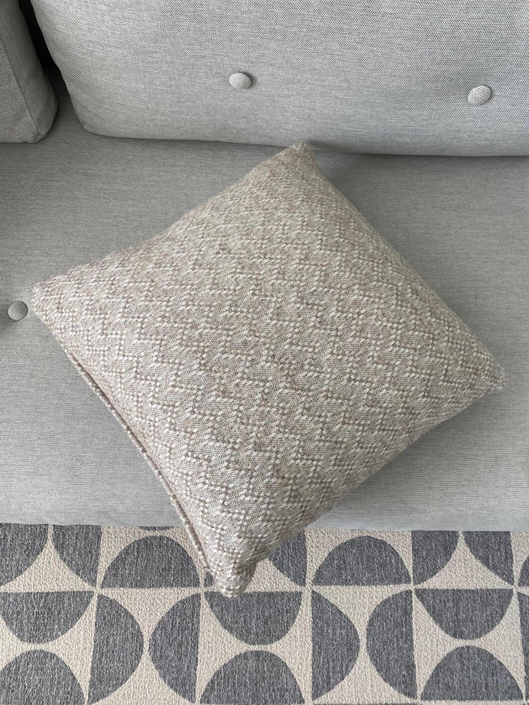 Pierre Frey Organic Wool, Alpaca, and Mohair Chevron Luxe Pillow in Taupe For Sale 1