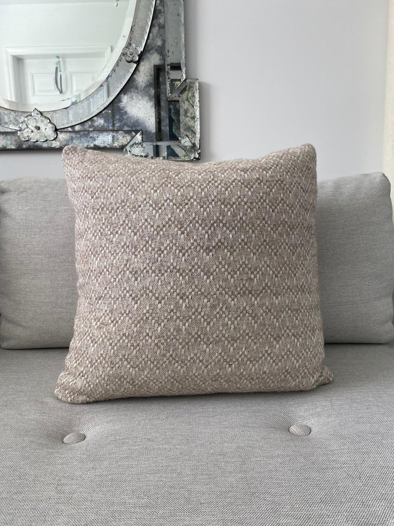 Pierre Frey Organic Wool, Alpaca, and Mohair Chevron Luxe Pillow in Taupe For Sale 2