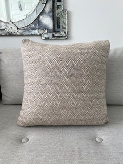 Pierre Frey Organic Wool, Alpaca, and Mohair Chevron Luxe Pillow in Taupe