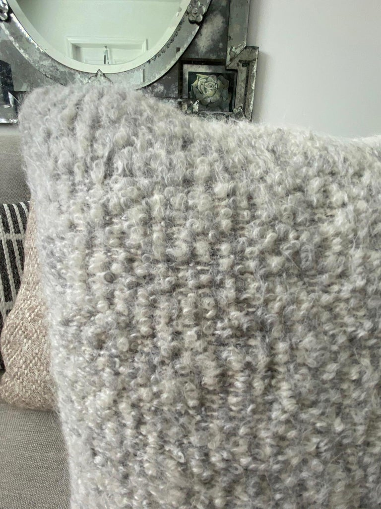 Organic Modern Pierre Frey Organic Woven Alpaca, Mohair, and Leather Luxe Throw Pillow For Sale