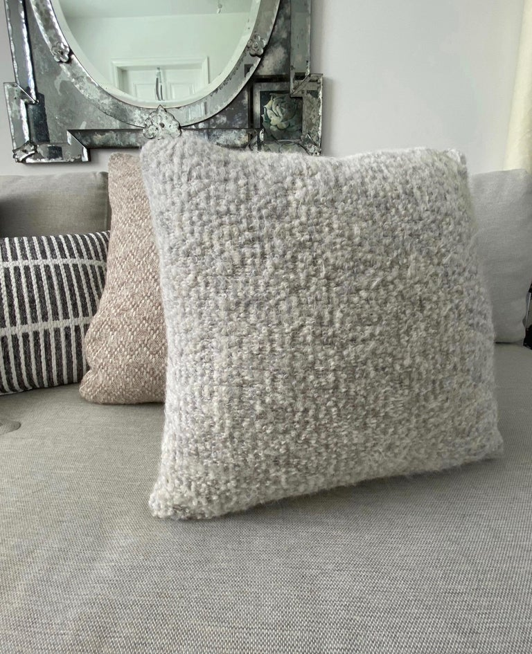 French Pierre Frey Organic Woven Alpaca, Mohair, and Leather Luxe Throw Pillow For Sale