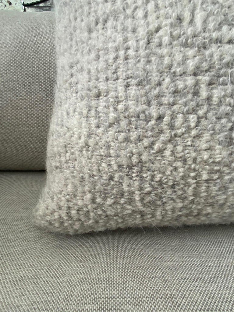 Hand-Crafted Pierre Frey Organic Woven Alpaca, Mohair, and Leather Luxe Throw Pillow For Sale
