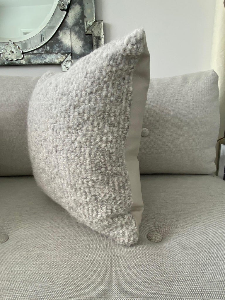 Pierre Frey Organic Woven Alpaca, Mohair, and Leather Luxe Throw Pillow In New Condition For Sale In Fort Lauderdale, FL