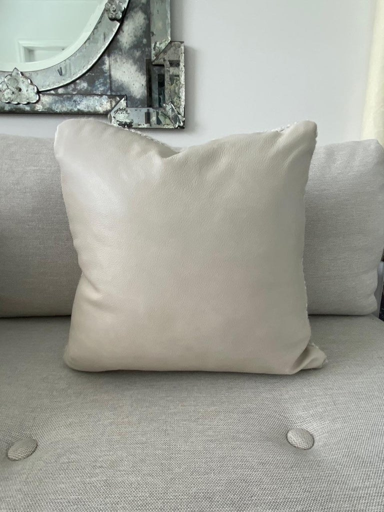Contemporary Pierre Frey Organic Woven Alpaca, Mohair, and Leather Luxe Throw Pillow For Sale