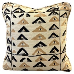 Pierre Frey Throw Pillow with Vintage African Kuba Print in Beige and Black
