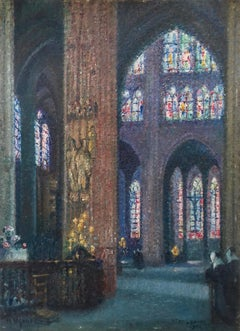 Stained Glass Window French Pointillist Rigaud Strasbourg Cathedral Architecture