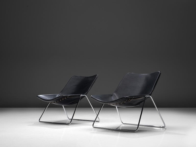 Mid-Century Modern Pierre Gauriche Pair of 'G1' Lounge Chairs in Black Leather For Sale