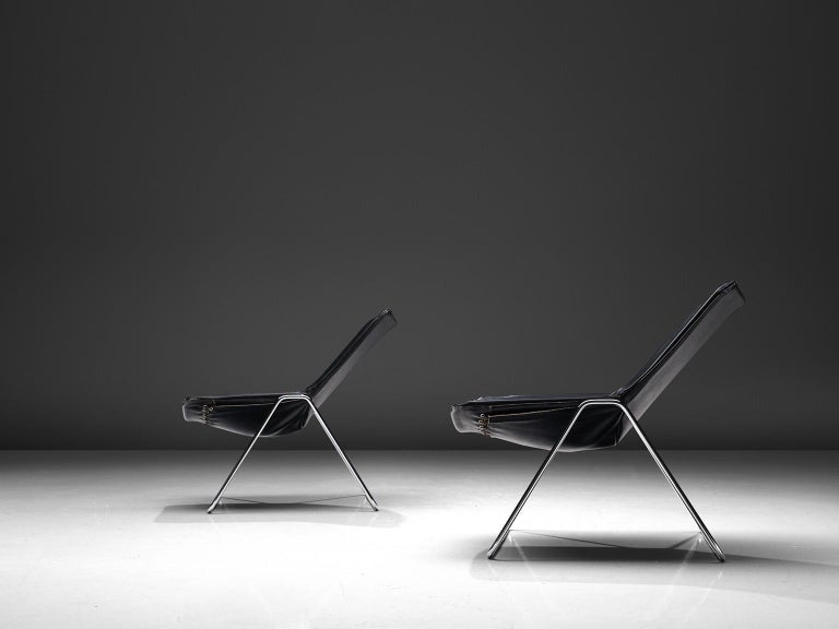 Pierre Gauriche Pair of 'G1' Lounge Chairs in Black Leather In Good Condition For Sale In Waalwijk, NL