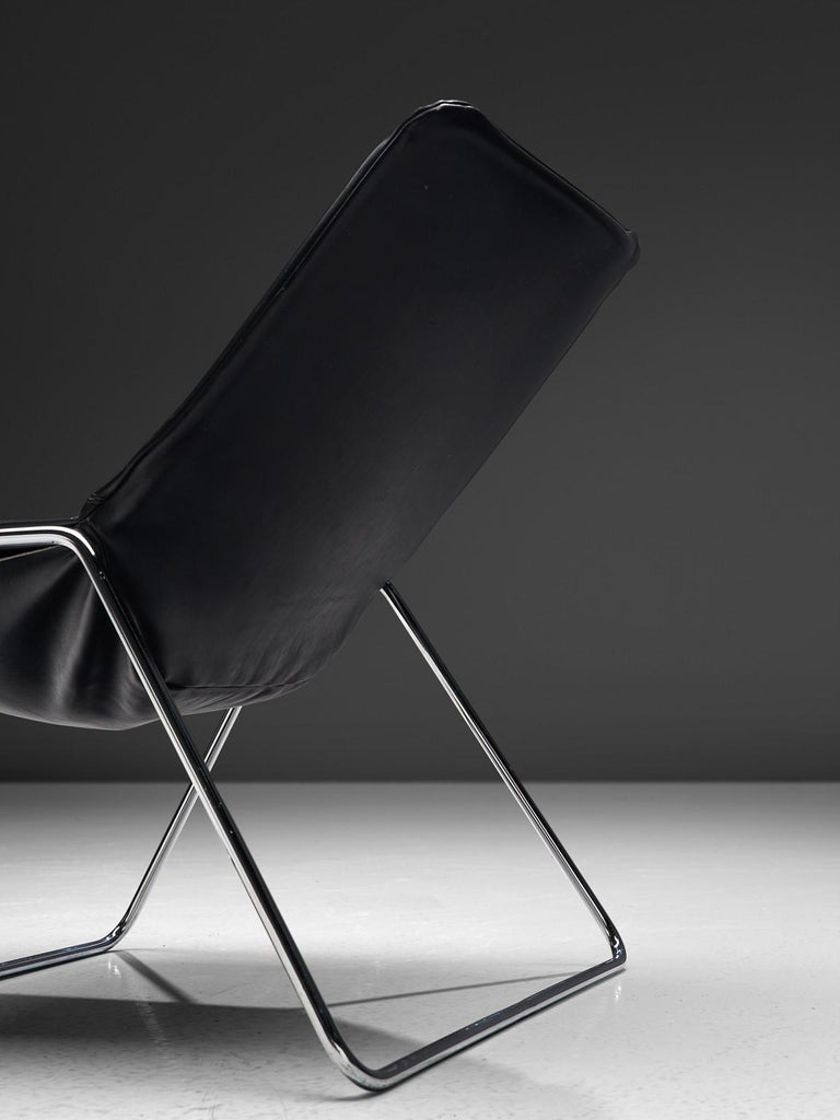 Mid-20th Century Pierre Gauriche Pair of 'G1' Lounge Chairs in Black Leather For Sale