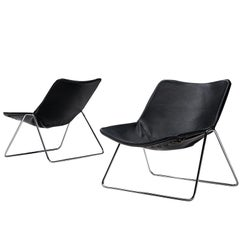 Pierre Gauriche Pair of 'G1' Lounge Chairs in Black Leather