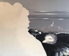 Abstract Oil Painting, Monochrome, French