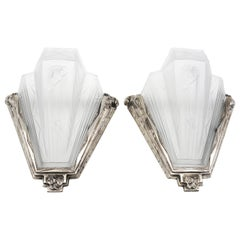 Pierre Gilles Pair of French Art Deco Wall Sconces, Late 1920s