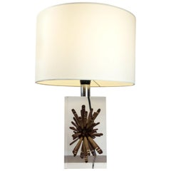 Pierre Giraudon 1970s Large Resin Table Lamp with Tropical Ursin Inclusion