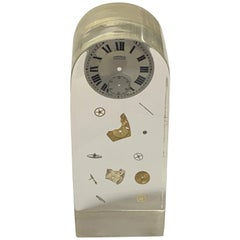 Pierre Giraudon Cubic Lucite Resin French Exploded Clock Sculpture, 1970s