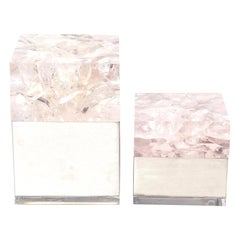 Pierre Giraudon Embedded Lucite and Stainless Steel Boxes Pair of Vintage French