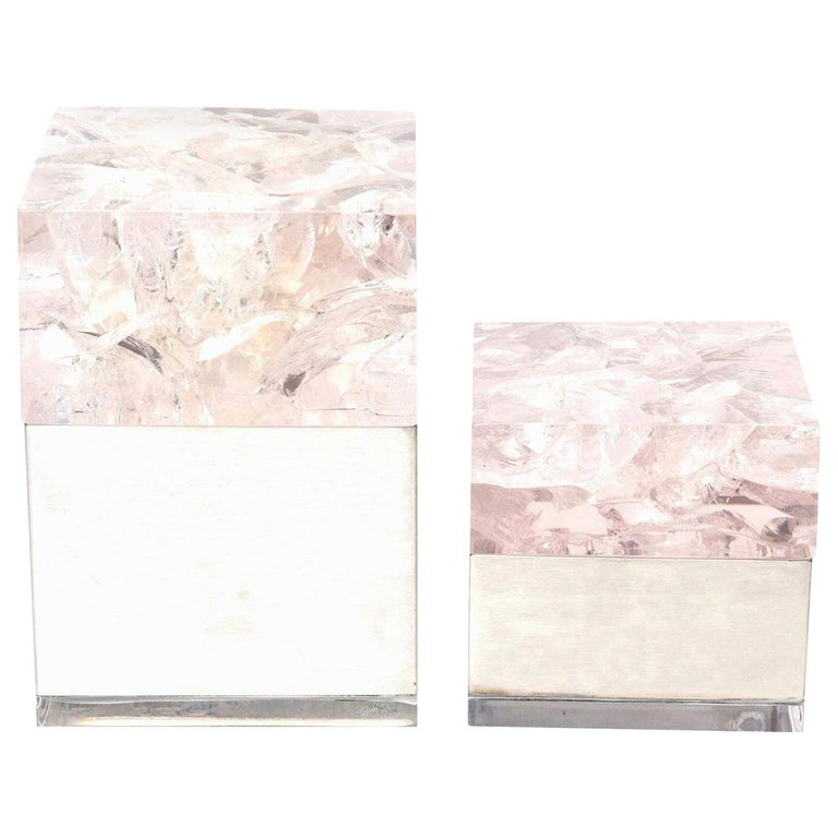 Pierre Giraudon Embedded Lucite and Stainless Steel Boxes Pair of Vintage French For Sale