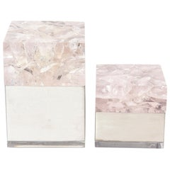 Pierre Giraudon Embedded Lucite and Stainless Steel Boxes Pair of Vintage