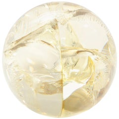 Pierre Giraudon Fractured Resin Sphere, Acrylic Sculpture, Clear & Yellow Gold