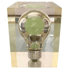 Pierre Giraudon, Pop Art Light Bulb Sculpture in Lucite Mid-Century Modern 1960s