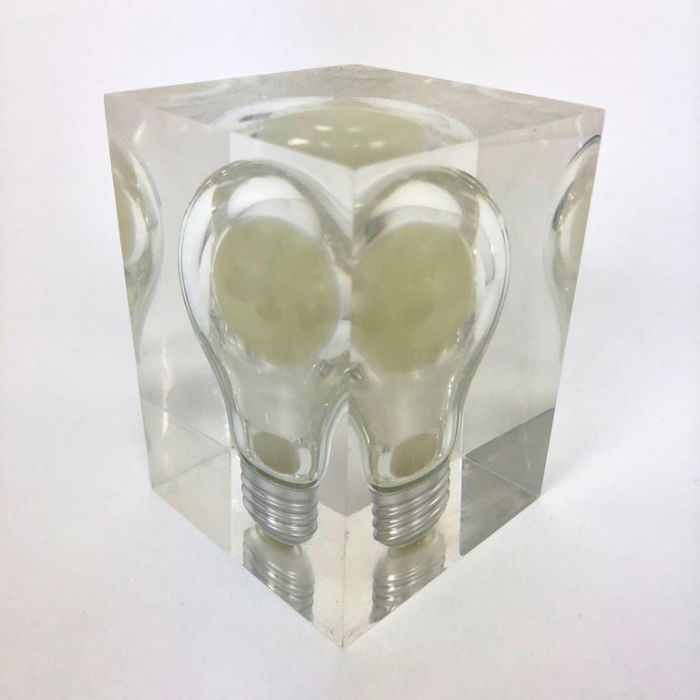 French Pierre Giraudon, Pop Art Light Bulb Sculpture in Lucite, Mid-Century Modern For Sale