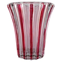 Pierre Gire Aka Pierre a'Avesn, Art Deco Vase, Clear and Pink Glass