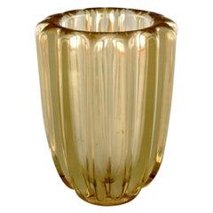 Pierre Gire '1901-1984', Aka Pierre D'Avesn, Art Deco Vase in Yellow Art Glass