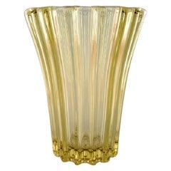 Pierre Gire, Aka Pierre d'Avesn, Art Deco Vase in Yellow Art Glass